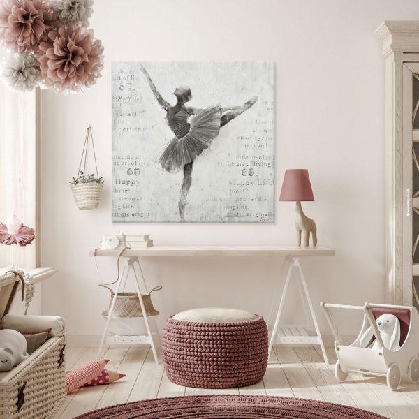 BALLET DANCER ΠΙΝΑΚΑΣ 100x3.5x100Ycm OIL PAINTING ΓΚΡΙ
