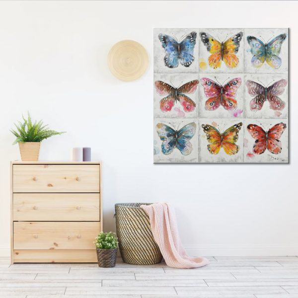 BUTTERFLIES ΠΙΝΑΚΑΣ 100x3.5x100Ycm OIL PAINTING MULTICOLOR