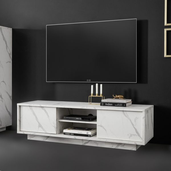CESARE TV STAND 138x43x44Ycm ΛΕΥΚΟ MARBLE