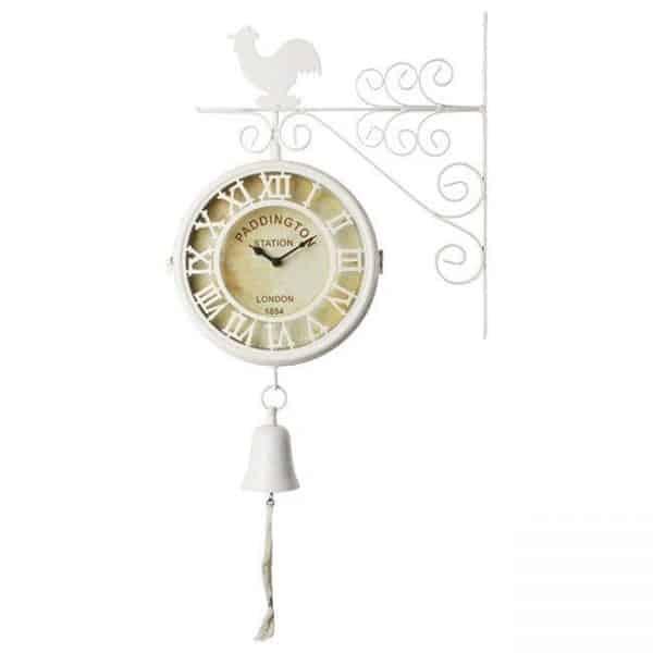 Inart Ρολόι Τοίχου Λευκό-Ελεφαντόδοντο Σίδερο   Γυαλί 31.5x9x60 cm