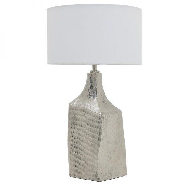 Inart Επιτραπέζιο Φωτιστικό Ασήμι,Λευκό-Ελεφαντόδοντο Σίδερο,Αλουμίνιο  Συνθετικό / ΠΟΛΥΕΣΤΕΡ 30x30x57 cm