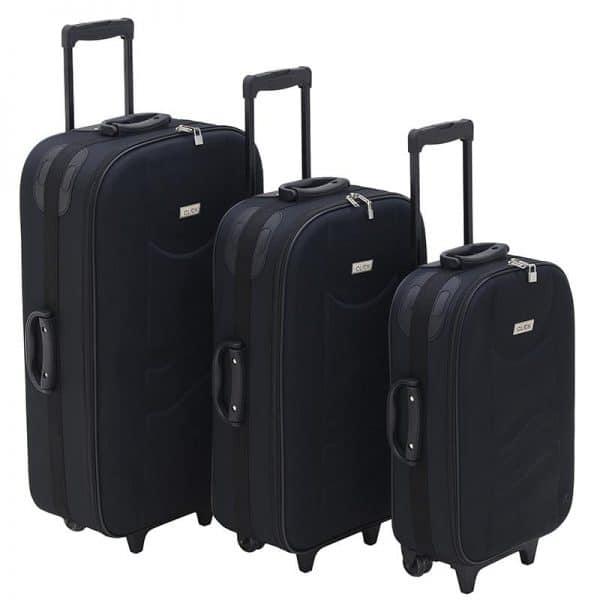Inart Βαλίτσα Ταξιδιού Σετ Των 3 Μαύρο Σίδερο  Συνθετικό / ΠΟΛΥΕΣΤΕΡ Πλαστικό