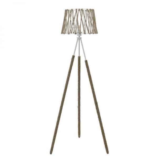 Inart Φωτιστικό Δαπέδου Φυσικό μπεζ,Λευκό-Ελεφαντόδοντο 38x38x152 cm