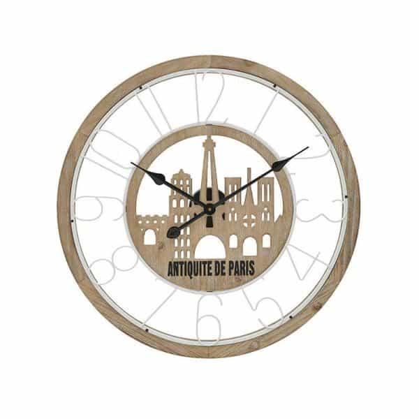 Inart Ρολόι Τοίχου Φυσικό μπεζ,Λευκό-Ελεφαντόδοντο,Μαύρο Σίδερο MDF 60x5x60 cm