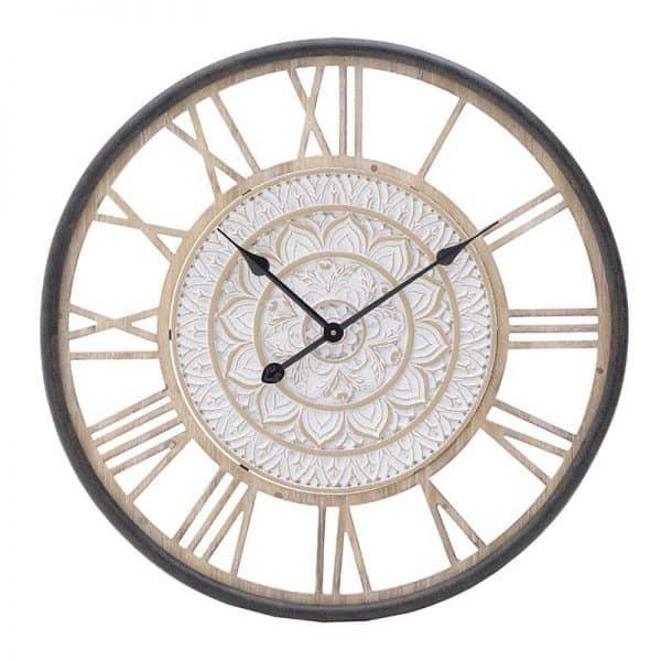 Inart Ρολόι Τοίχου Λευκό-Ελεφαντόδοντο,Φυσικό μπεζ Σίδερο Birch 68x5x68 cm