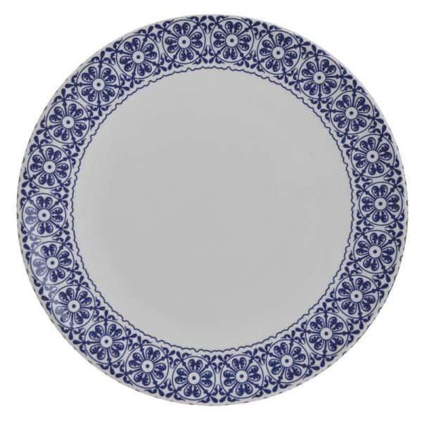 Inart Πιάτο Σετ Των 6 Λευκό-Ελεφαντόδοντο,Μπλε    Κεραμικό 28x28x3 cm