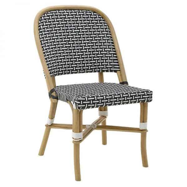 Inart Καρέκλα Ραττάν Φυσικό μπεζ,Μαύρο   Συνθετικό / ΠΟΛΥΕΣΤΕΡ 53x59x87.5 cm