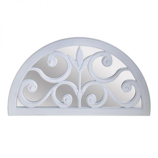 Inart Καθρέπτης Τοίχου Λευκό-Ελεφαντόδοντο    Γυαλί,Πλαστικό 76x2x43 cm