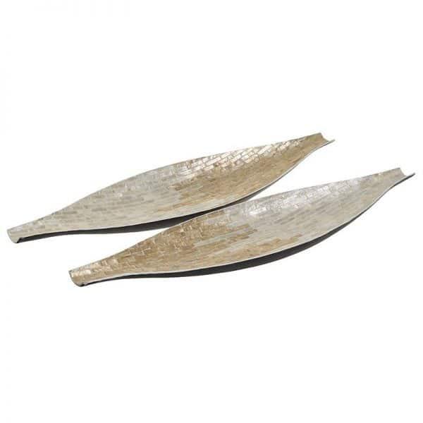 Inart Πιατέλα Σετ Των 2 Μέντα,Χρυσό  MDF  Χαρτί 70x18x5 cm