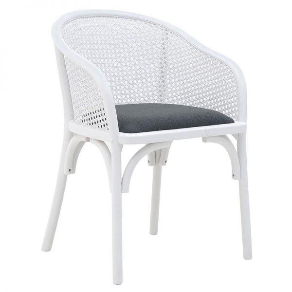 Inart Καρέκλα Ασπρόμαύρο  Beech Linen 55x56x80 cm
