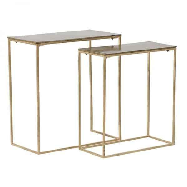 Inart Ζιγκόν Σετ Των 2 Χρυσό,Μαύρο 61x57x28 cm