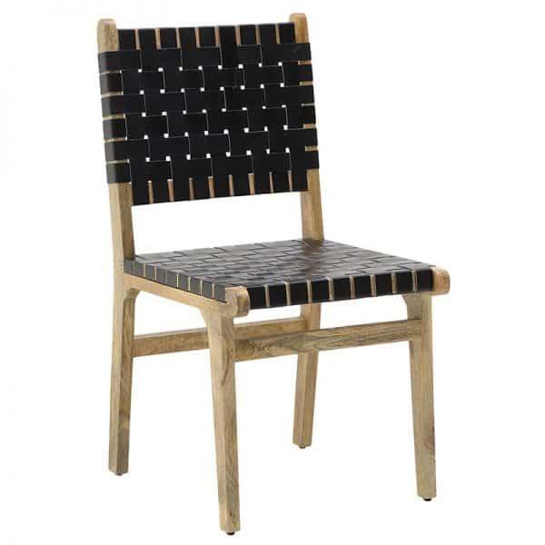 Inart Καρέκλα Μαύρο,Φυσικό μπεζ  Μάνγκο PU 52x52x90 cm
