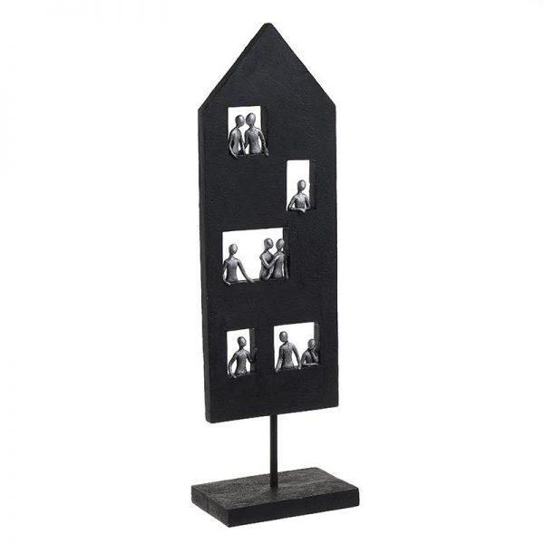 Inart Επιτραπέζιο Διακοσμητικό Μαύρο,Ασήμι    Πολυρεσίνη 15x9.5x49 cm