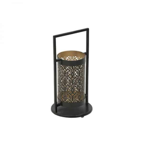 Inart Φανάρι Μαύρο,Χρυσό Σίδερο 15x15x29 cm