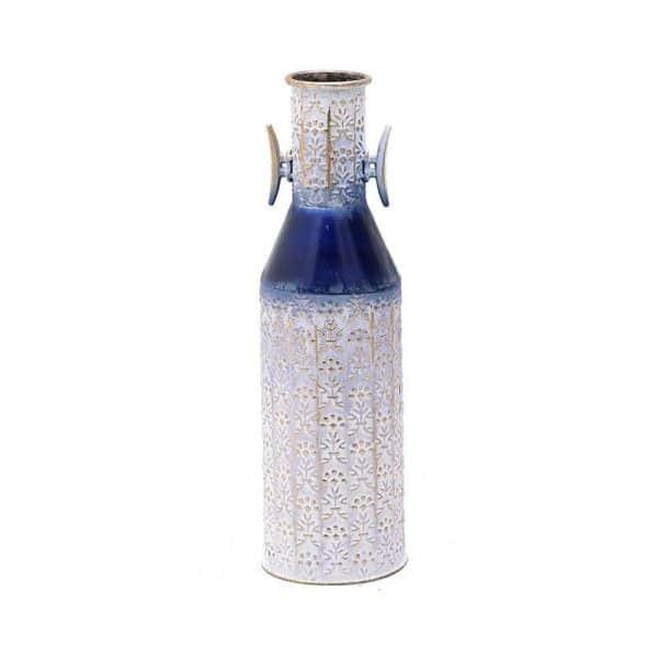 Inart Βάζο Λευκό-Ελεφαντόδοντο,Μπλε Σίδερο 16x16x53 cm