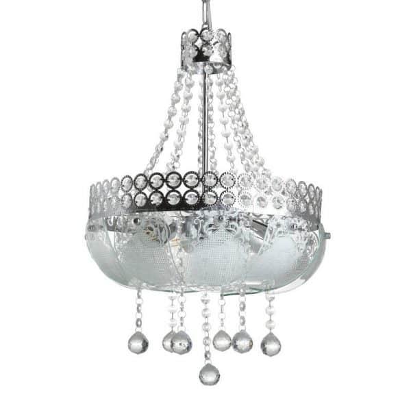 Inart Φωτιστικό Οροφής Ασήμι,Διαφανές    Γυαλί 35x35x54 cm
