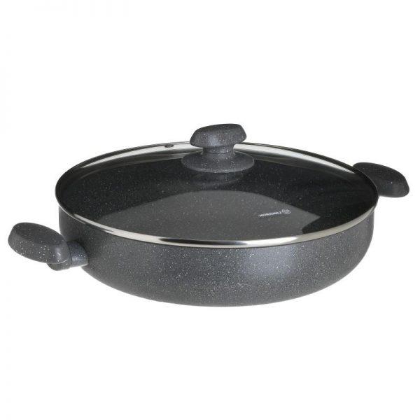 Inart Κατσαρόλα Χαμηλή Μαύρο Ανοξείδωτο Aτσάλι,Αλουμίνιο   Γυαλί 30x30x7 cm