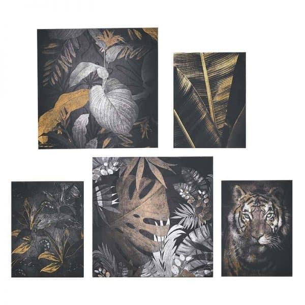 Inart Πίνακας Printed Καμβάς Σετ Των Multi  MDF Καμβάς 25x3x25 cm