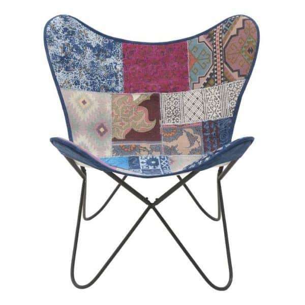 Inart Μεταλλική/Υφασμάτινη Καρέκλα Multi   Βαμβάκι 65x55x85 cm