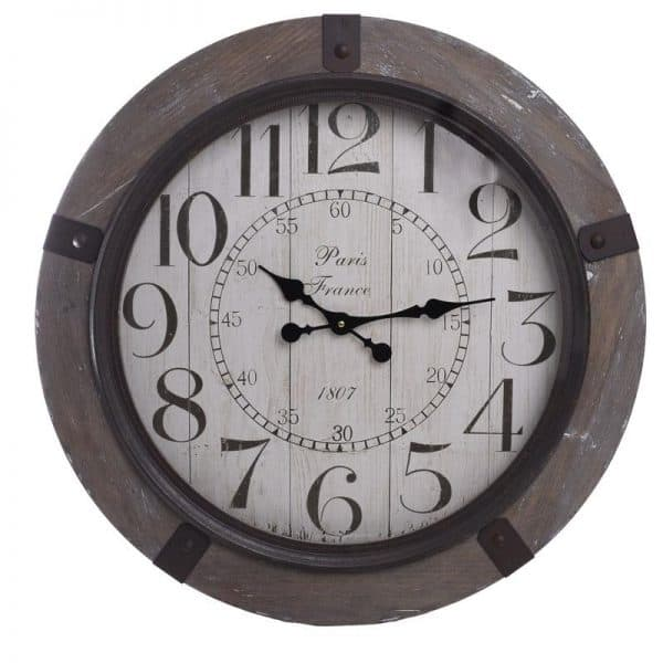 Inart Ρολόι Τοίχου Καφέ,Φυσικό μπεζ  MDF 70x2x70 cm