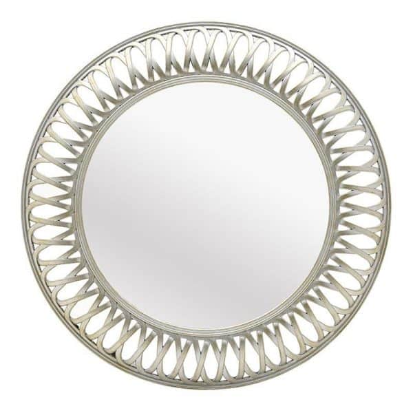 Inart Καθρέπτης Τοίχου Λευκό-Ελεφαντόδοντο    Πλαστικό,Γυαλί 75x5x75 cm