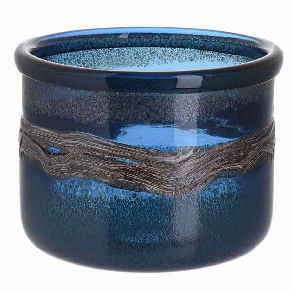Inart Βάζο Μπλε    Γυαλί 20x20x17 cm