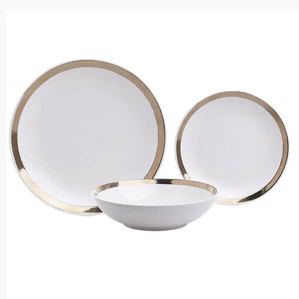 Inart Σετ Φαγητού 18 Τεμαχίων Χρυσό,Λευκό-Ελεφαντόδοντο    Πήλινα