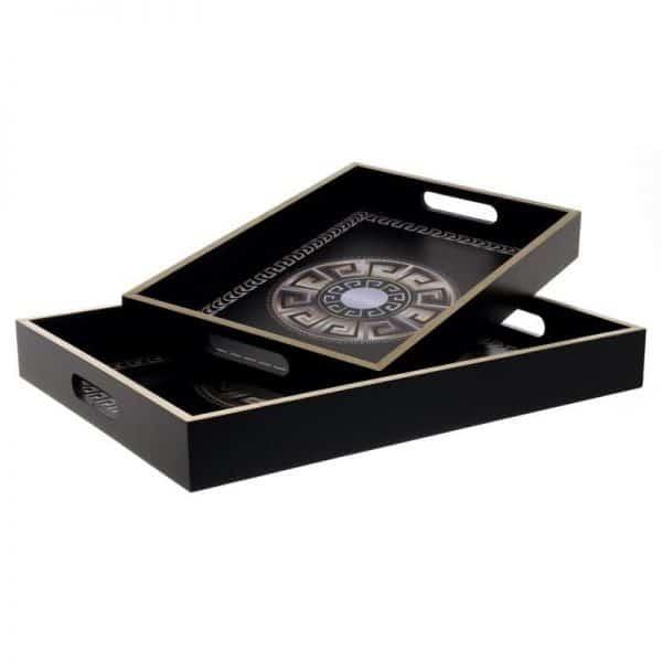 Inart Δίσκος Σετ Των 2 Μαύρο,Χρυσό 40x30x5 cm