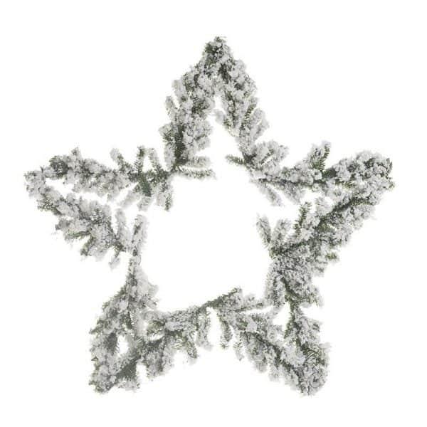 Inart Γιρλάντα/Αστέρι Λευκό-Ελεφαντόδοντο,Πράσινο Σίδερο   Πλαστικό 60x10x60 cm