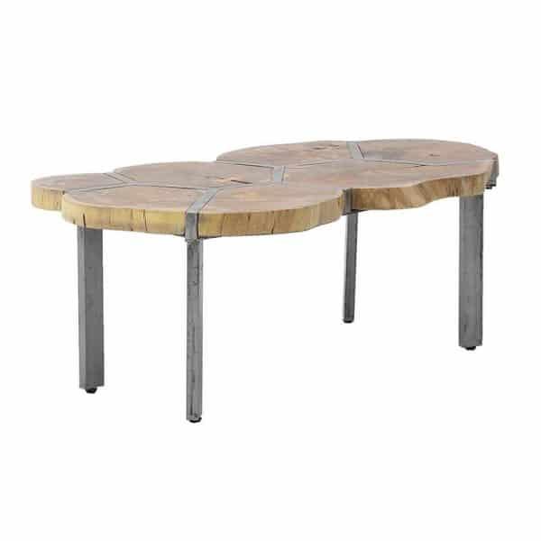 Inart Ξύλινο/Mεταλλικό Τραπέζι Φυσικό μπεζ Σίδερο Μάνγκο,Acacia 106x65x45 cm