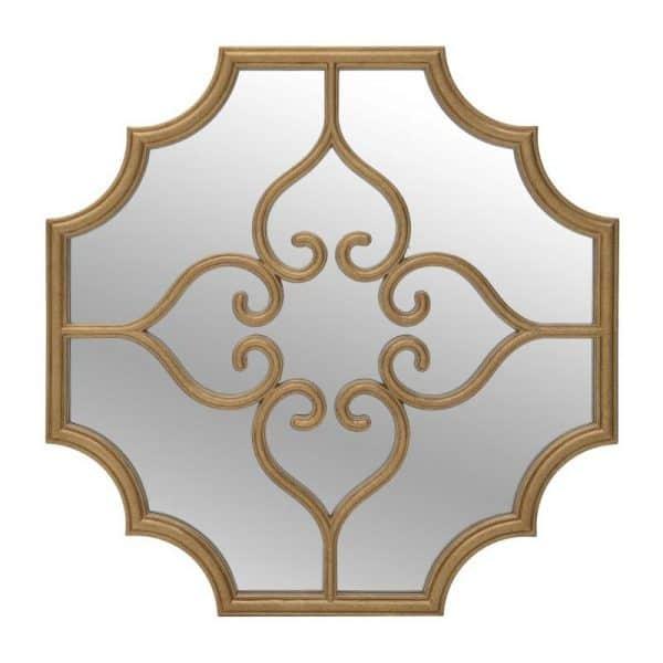 Inart Καθρέπτης Τοίχου Χρυσό    Γυαλί,Πολυρεσίνη 80x3x80 cm