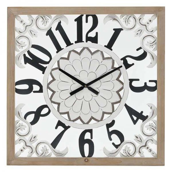 Inart Ρολόι Τοίχου Φυσικό μπεζ,Λευκό-Ελεφαντόδοντο,Μαύρο  MDF,Fir 80x4x80 cm