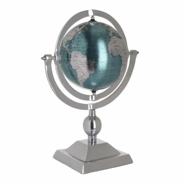 Inart Υδρόγειος Μπλε,Ασήμι Αλουμίνιο   Πλαστικό 27x15x38 cm
