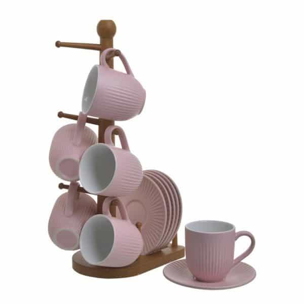 Inart Σετ Καφέ 6 Τεμαχίων Ροζ-Μωβ,Φυσικό μπεζ  Μπαμπού  Πορσελάνη 16x11x30 cm