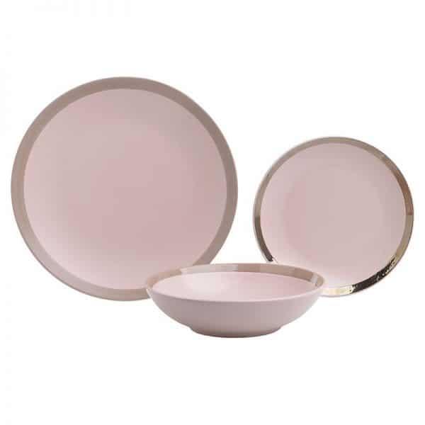 Inart Σετ Φαγητού 18 Τεμαχίων Ροζ-Μωβ    Πήλινα