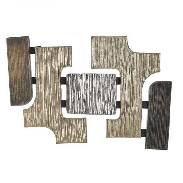 Inart Διακοσμητικό Τοίχου Μαύρο,Ασήμι,Χρυσό Αλουμίνιο 45x3x31 cm