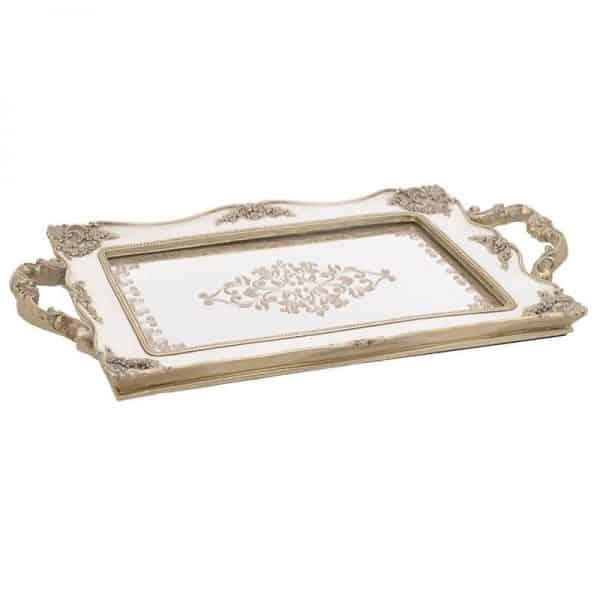 Inart Δίσκος διακοσμητικος Χρυσό,Λευκό-Ελεφαντόδοντο    Πολυρεσίνη 41x25x2 cm