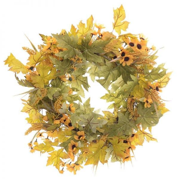 Inart Στεφάνι Κίτρινο-πορτοκαλί,Πράσινο,Καφέ Σίδερο  Συνθετικό / ΠΟΛΥΕΣΤΕΡ Πλαστικό 66x66x66 cm