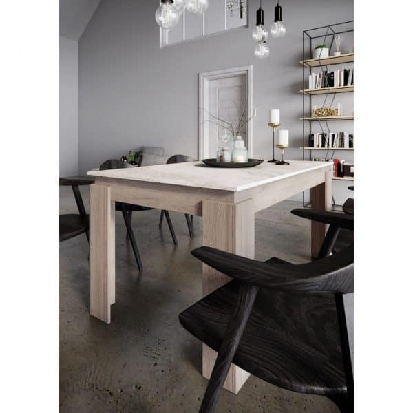 Τραπεζαρία VIKI, Χρώμα Sonoma-Λευκό με εφέ Μάρμαρο, 137x90x75.