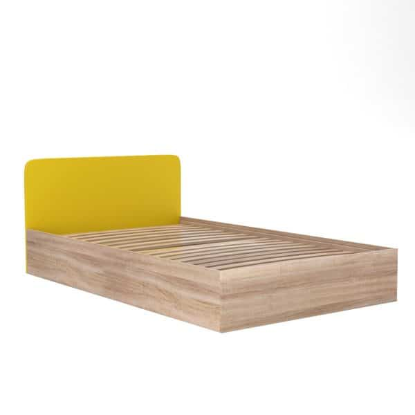 Kρεβάτι MULTISPACE Ημίδιπλο με αποθηκευτικό χώρο τάβλες Κίτρινο-Σονόμα 120x200cm KO-MULTISPACEBED