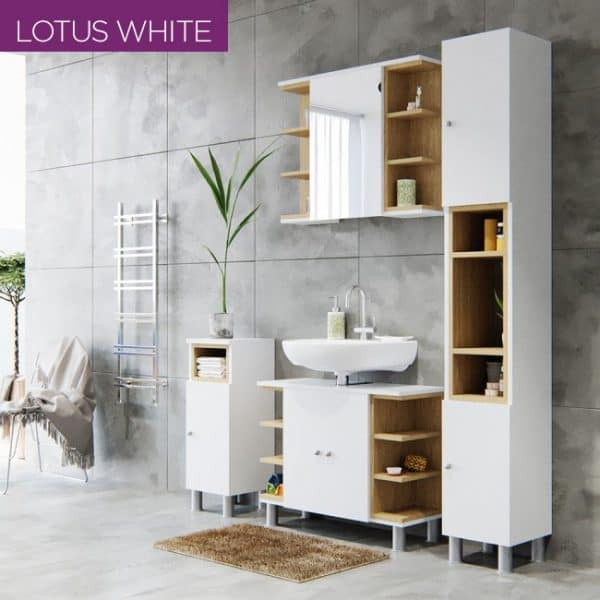 Καθρέπτης Μπάνιου LOTUS Με Ντουλάπι και Ράφια Λευκό-Σονόμα 79.6x20x64εκ