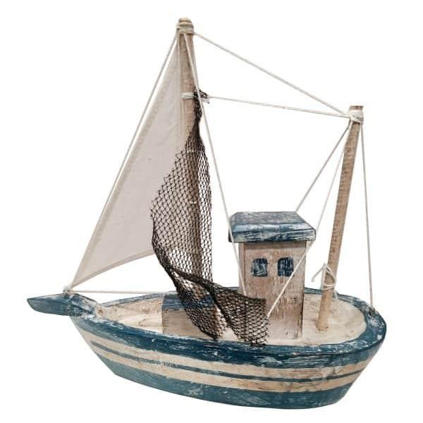 Επιτραπέζια Διακοσμητική Βάρκα Ξύλινο Χρώμα Μπλέ 23x9x23εκ