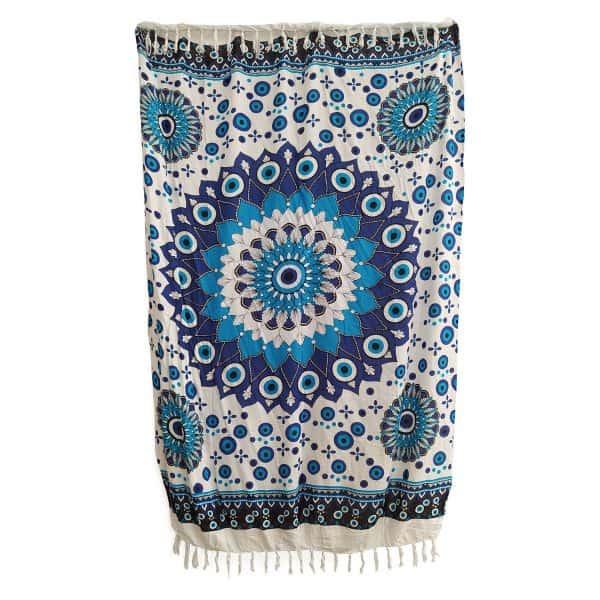 """Μοντέρνο Παρεό """"ΜΑΤΙ"""" με όμορφα χρώματα 110x170εκ Λευκό με Γαλάζιες λεπτομέρειες O-NAD14"""