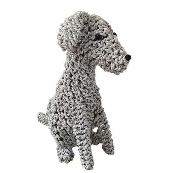 Επιτραπέζιος Διακοσμητικό Πλεκτό Καθιστό Σκυλάκι Λευκό 35x22x50εκ