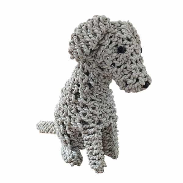 Επιτραπέζιο Διακοσμητικό Πλεκτό Καθιστό Σκυλάκι Χρώμα Λευκό 25x15x34εκ