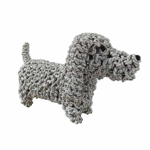 Επιτραπέζιο Διακοσμητικό Πλεκτό Μακρύ Σκυλάκι Λευκό 44x15x25εκ