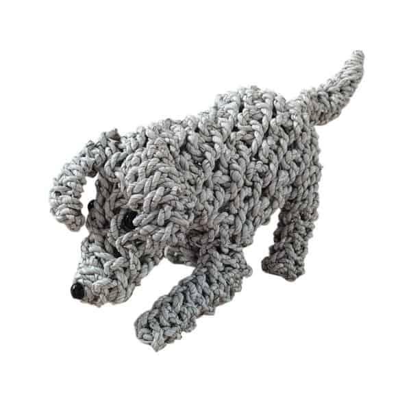 Επιτραπέζιο Διακοσμητικό Πλεκτό Χαρούμενο Σκυλάκι Λευκό 40x15x23εκ