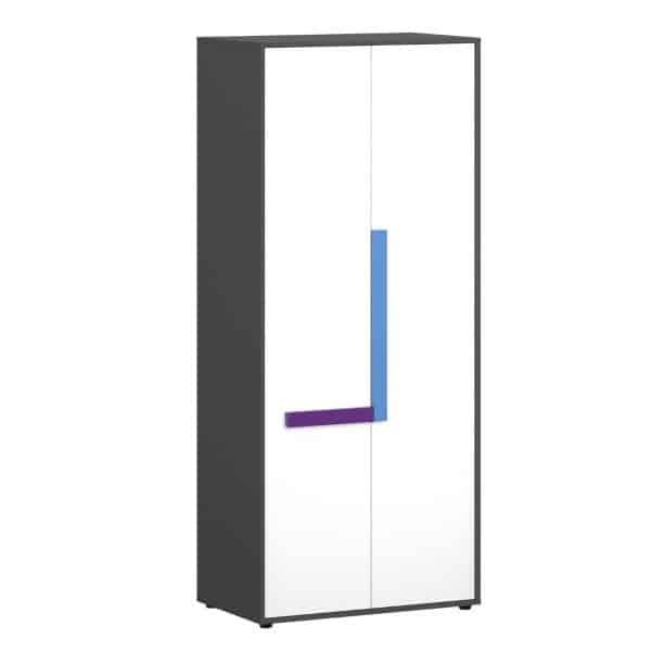 Ντουλάπα Δίφυλλη Alex 84x50x194εκ Γραφίτης-Λευκό 2 Πόρτες TO-ALEX2D