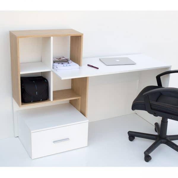 Γραφείο 149x50x105εκ Λευκό με Φυσικό TO-DESKHO1S