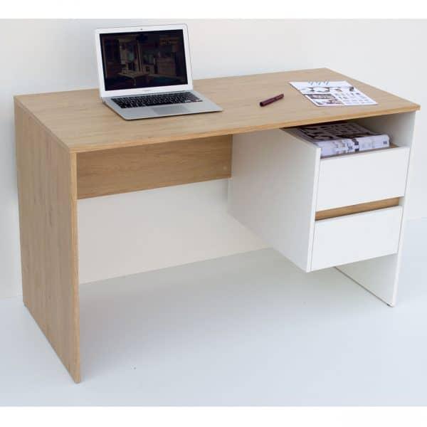 Γραφείο 120x55x75εκ Λευκό με Φυσικό Μοντέρνα Σχεδίαση με Συρτάρια TO-DESKHO2S